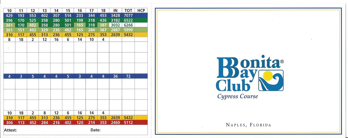 Bonita Bay Cypress Score Card Front