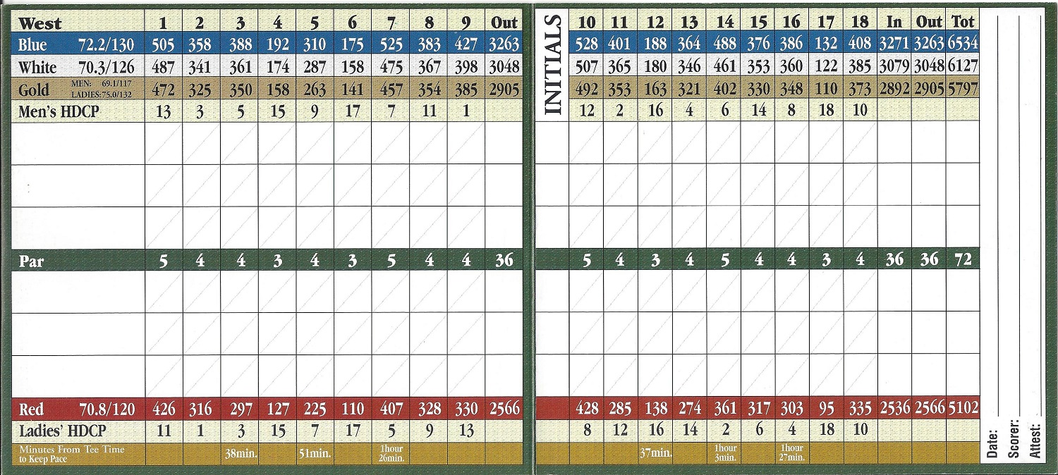 Imperial Golf Estates Country Club Score Card West Course