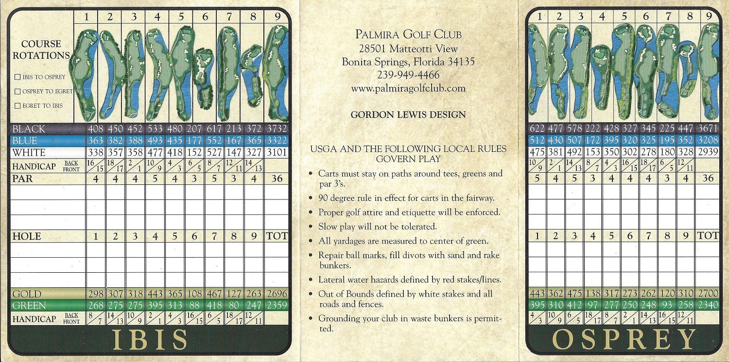 Palmira Score Card Back