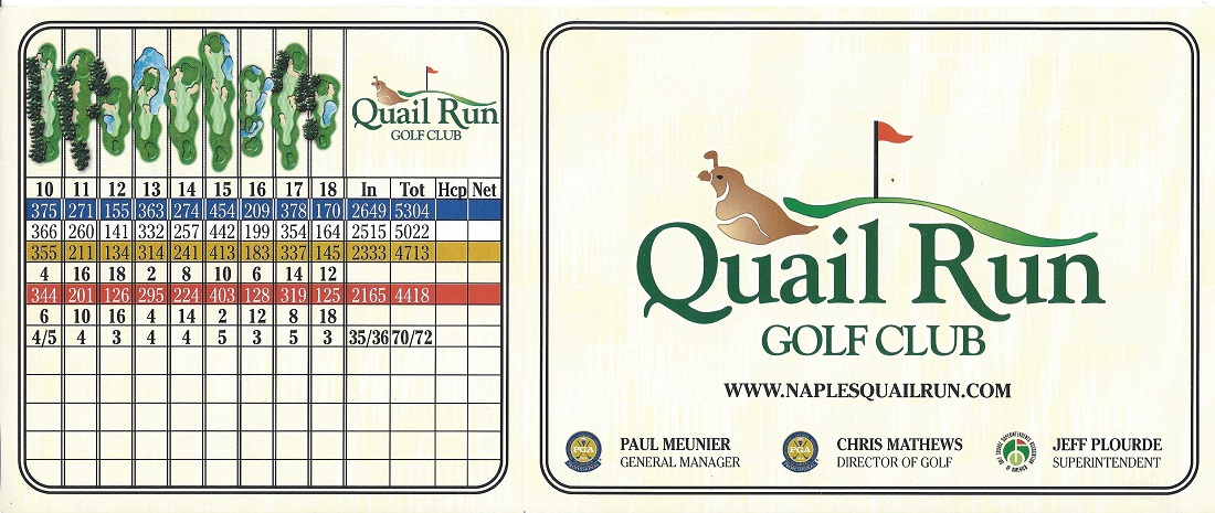 Score Card for Quail Run Front