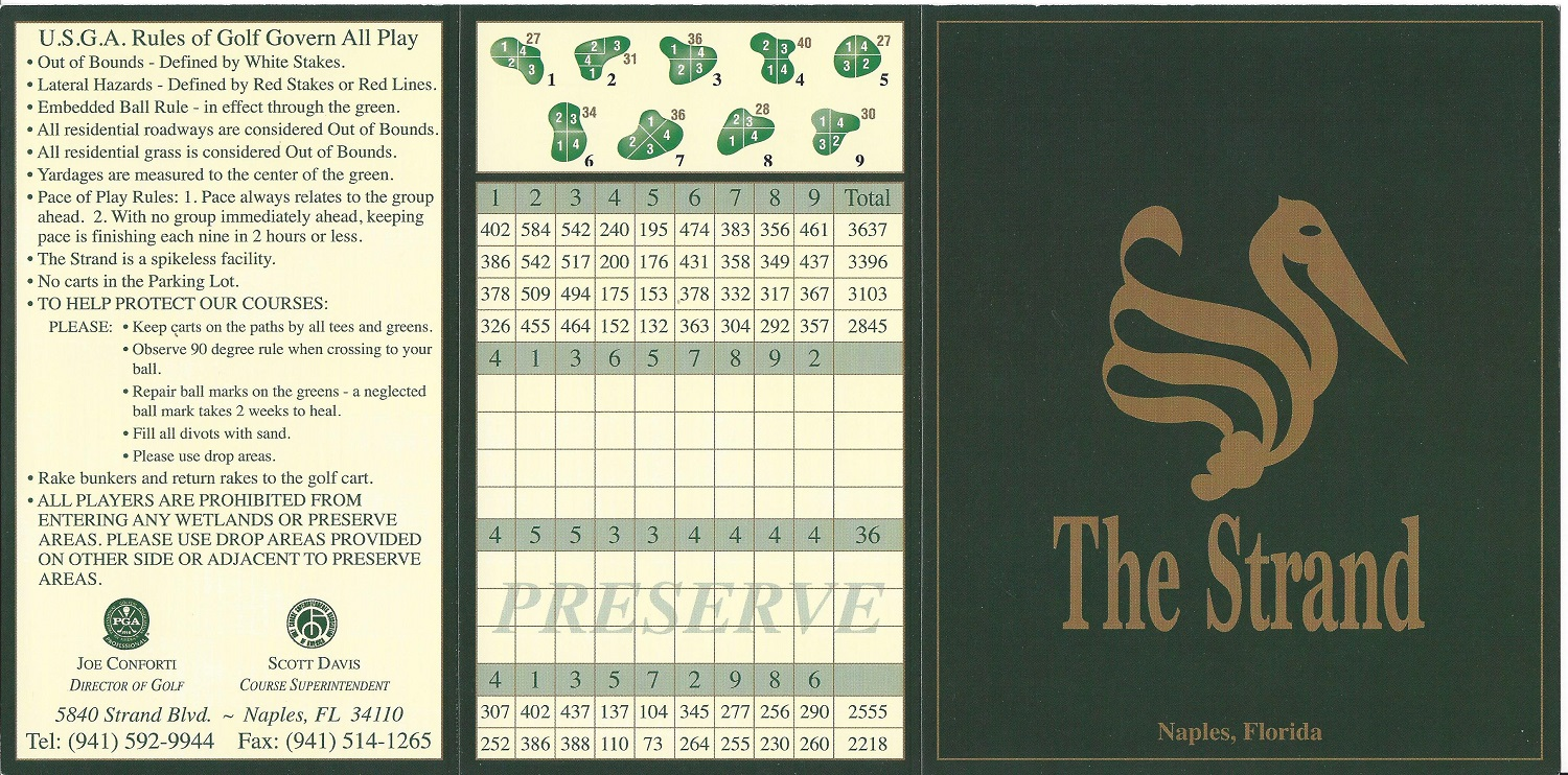 The Strand Score Card Front