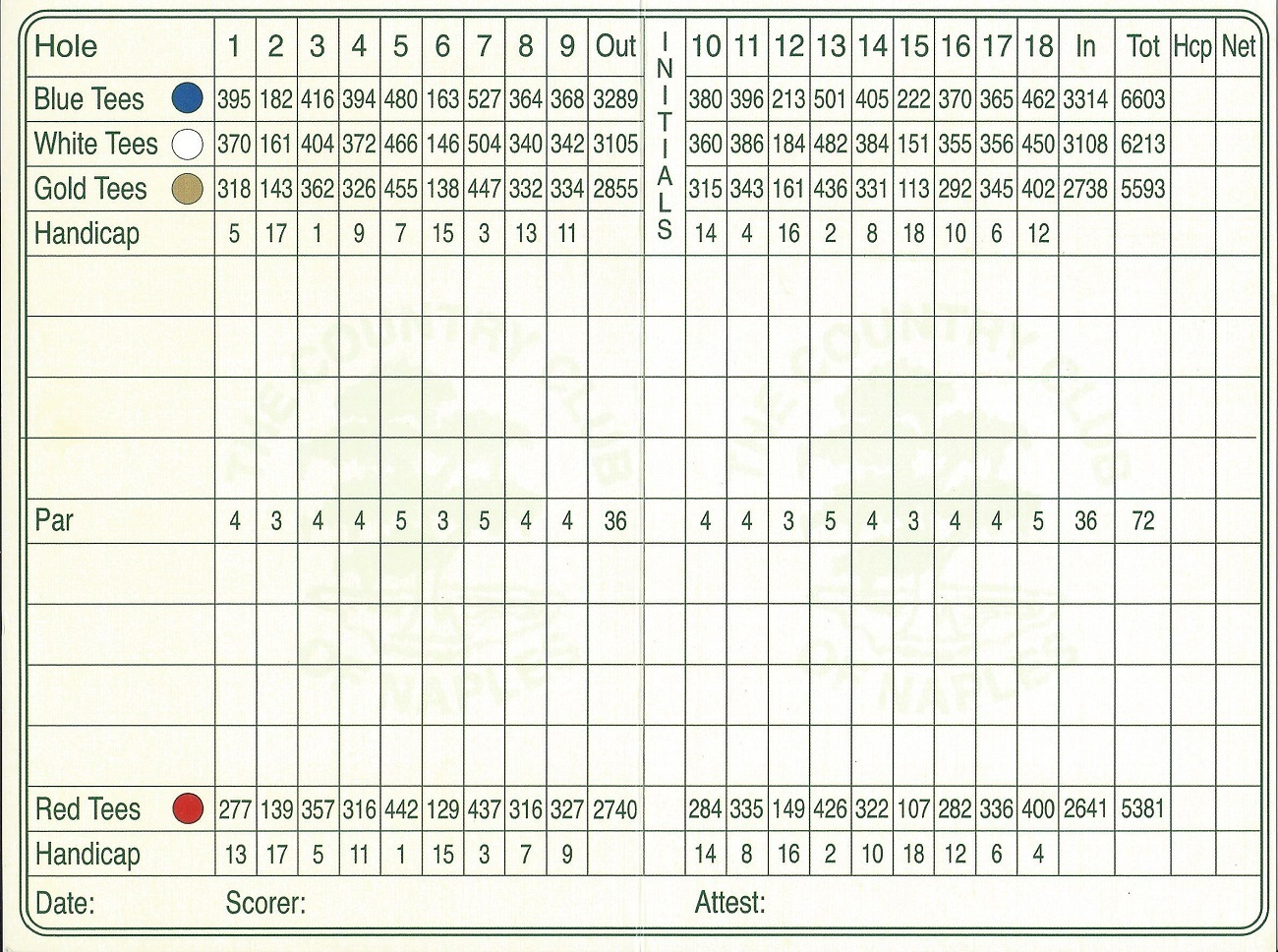 Score Card for the Country Club of Naples Back