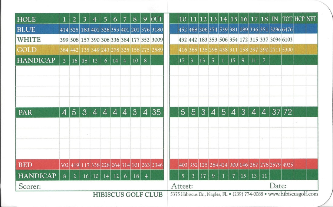 Back of Score Card for Hibiscus Golf Club, Naples FL