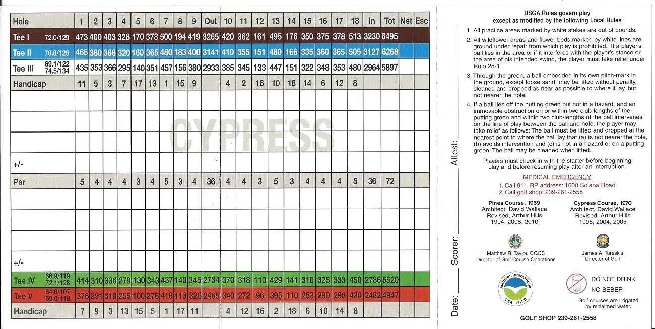 Score Card for Royal Poinciana Golf Club, Naples FL Back