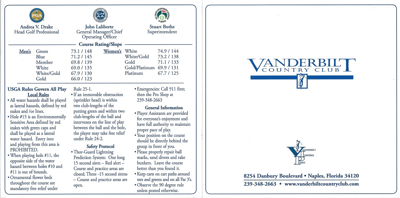 Vanderbilt Country Club Score Card Front