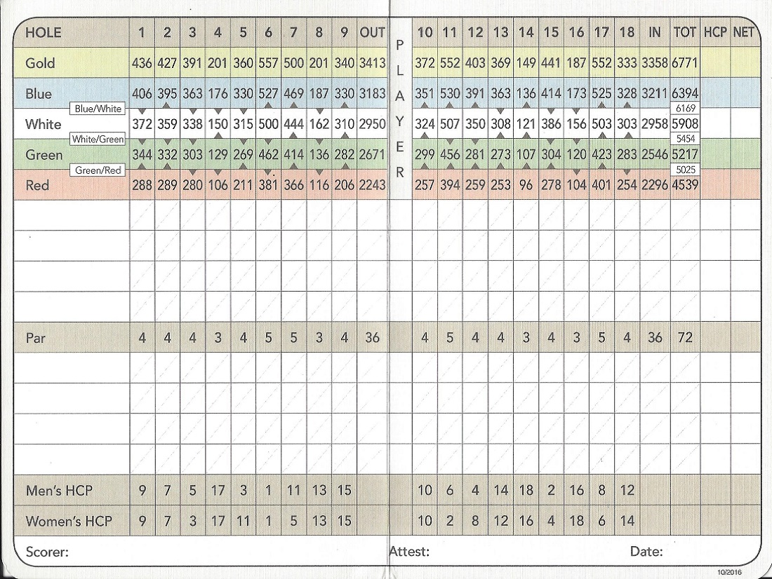Score Card For Vasari Country Club, Bonita Springs FL Back