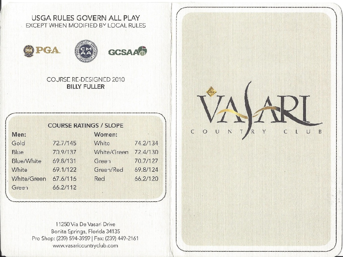 Score Card For Vasari Country Club, Bonita Springs FL Front