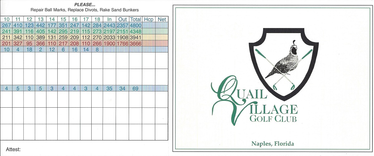 Quail Creek Village Score Card Front