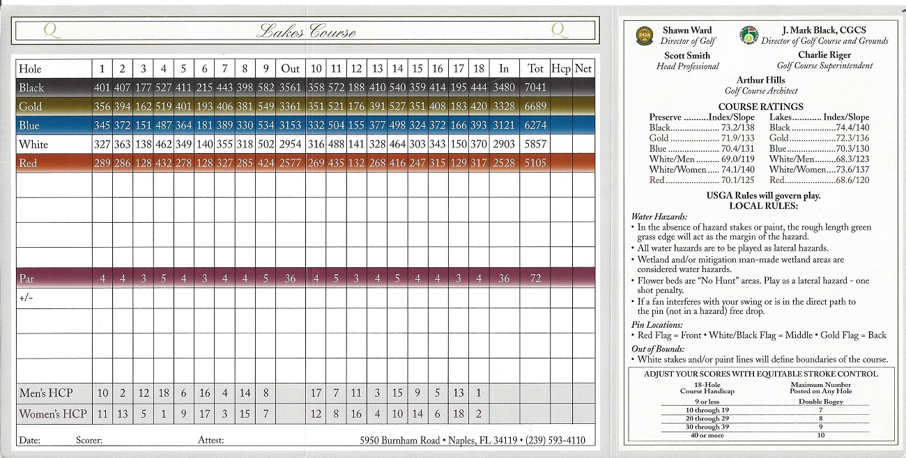 Score Card for the Quail West Lakes Course