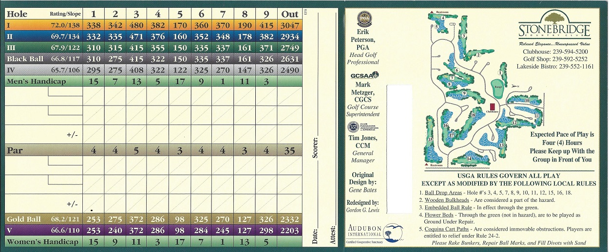 Score Card for Stonebridge Country Club Back