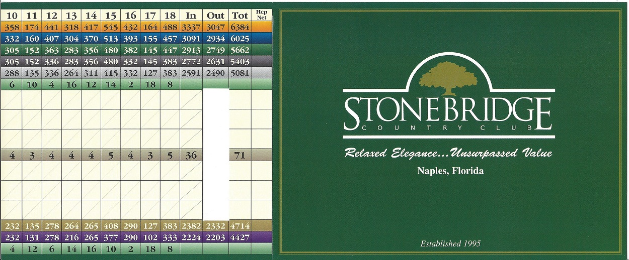 Score Card for Stonebridge Country Club Front