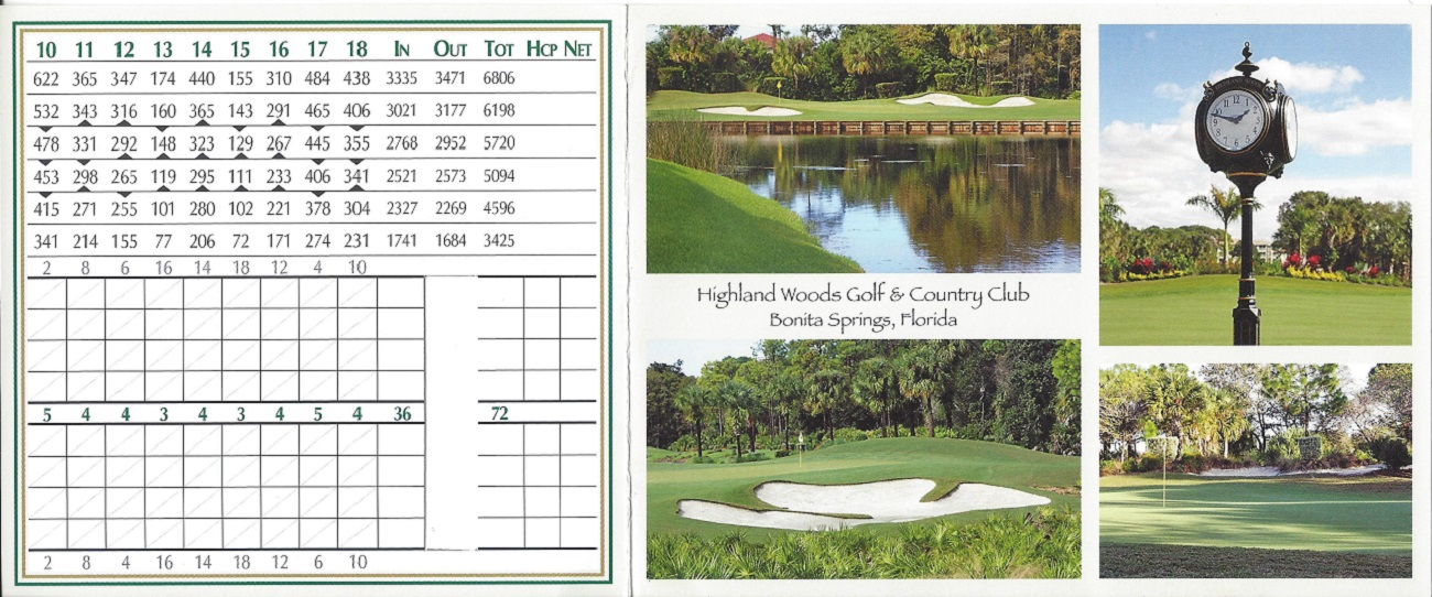 Score Card for Highland Woods Back