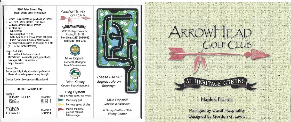 Score Card for Arrowhead Golf Club in Naples, Front