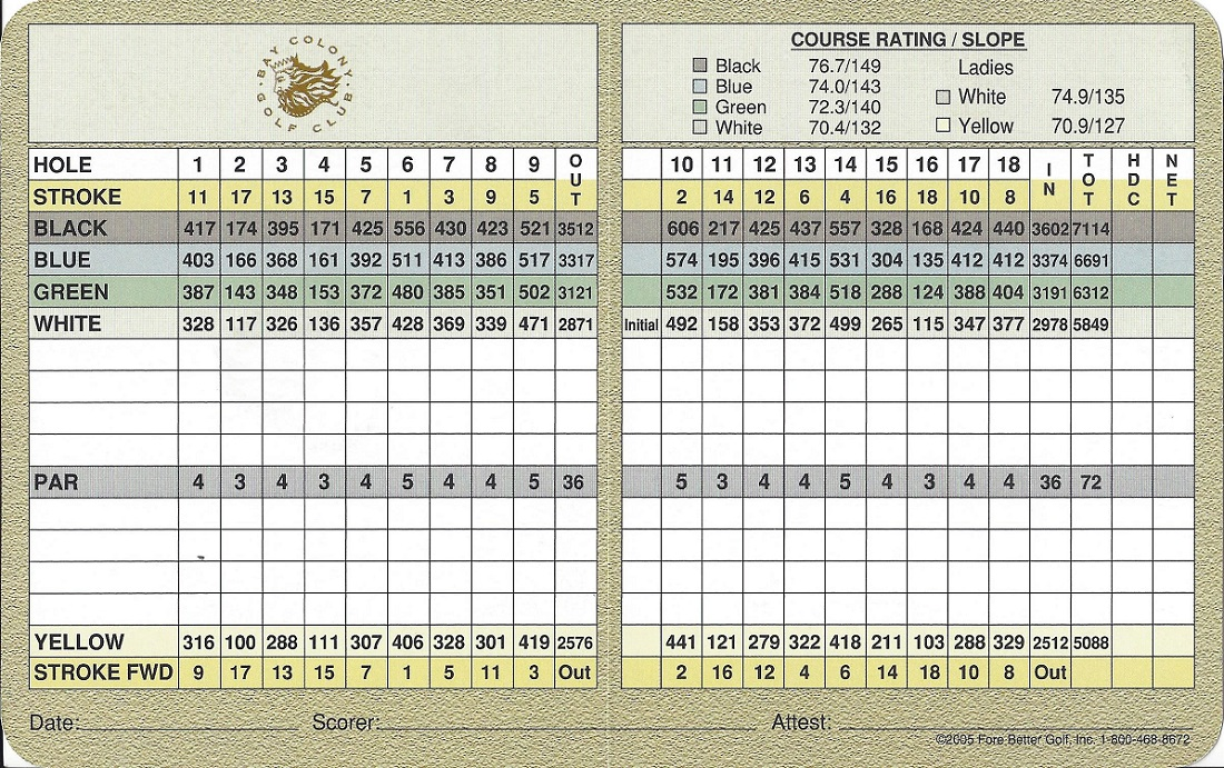 Score Card for Bay Colony Back