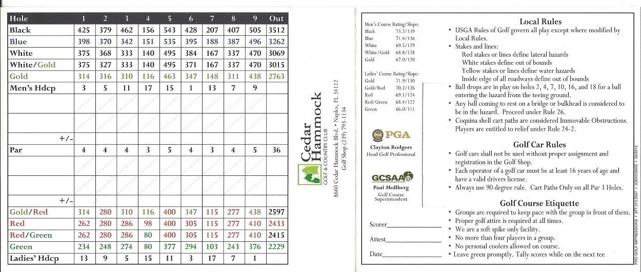 Score Card for Cedar Hammock Back