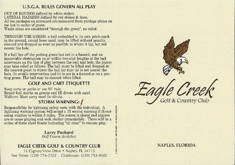 Score Card for Eagle Creek Front