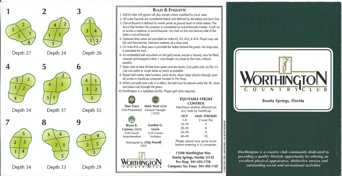 Worthington Country Club Score Card Front