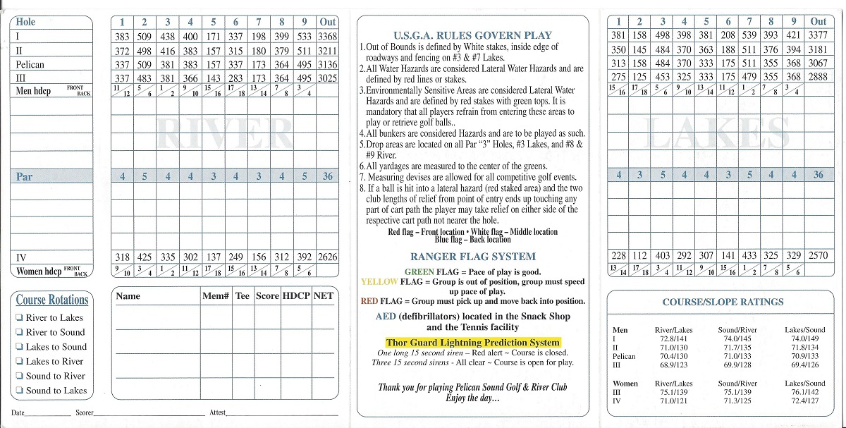 Pelican Sound Golf and River Club Score Card Back