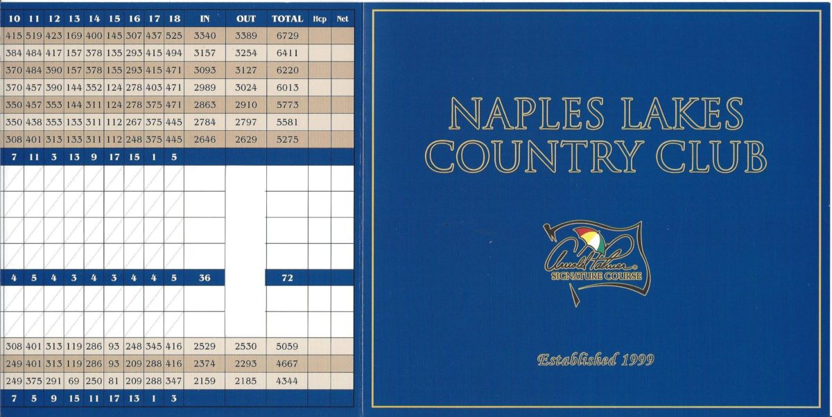 Naples Lakes Score Card Front